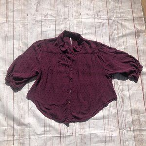 Free People XS Purple Cropped button front blouse